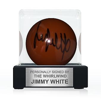 Jimmy White signerade Brown Snooker Ball. I displayväska med plakett
