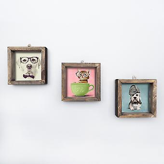 UKZM017 Flerfärgad dekorativ inramad MDF-målning (3 stycken)