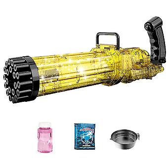 21-Hole Electric Gatling Bubble,Summer Outdoor Toys For Boys Girls(Gold)