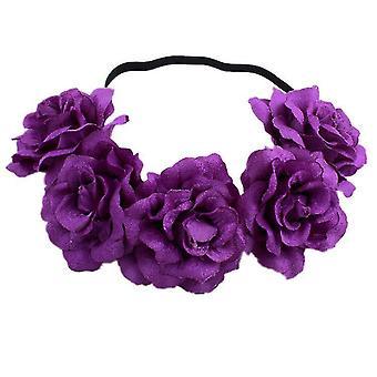 Fiore rosa corona matrimonio festival fascia capelli ghirlanda copricapo di nozze (viola)