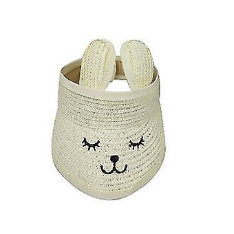 Bunny Ear Straw Sun Visor Hats Girls Kids Wide Brim Sun Hats (Branco)