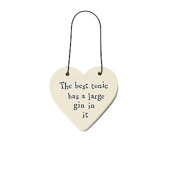 The Best Tonic Has a Large Gin In It Mini Wooden Hanging Heart - Cracker Filler Gift