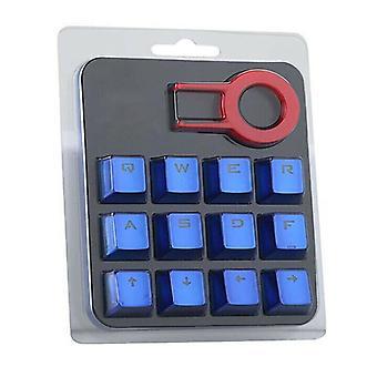 (Blue) 12Pcs/Set Gaming Keycap Cherry Mx Mechanical Keyboard Backlit Keycaps Suitable
