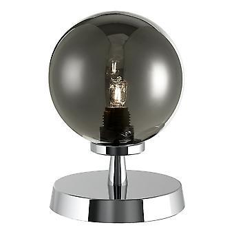DAR ESBEN Touch Lampa stołowa polerowana Chrom z wędzonym szkłem