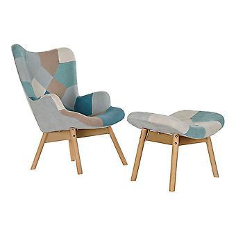 Armchair DKD Home Decor Beige Polyester Pine Sky Blue (70 x 70 x 95 cm) (2 pcs)