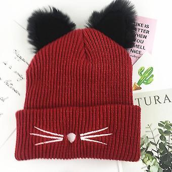 Orecchie di gatto Donne Acrilico Acrilico Caldo Inverno Berretti Berretto Invernale