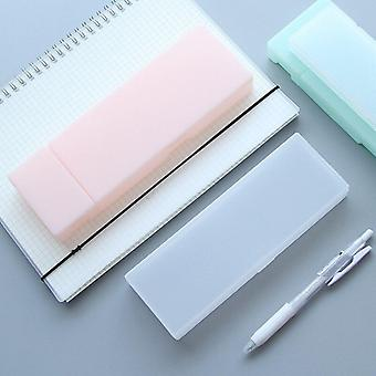 Pencil case simple transparent frosted plastic pens storage stationery supplies
