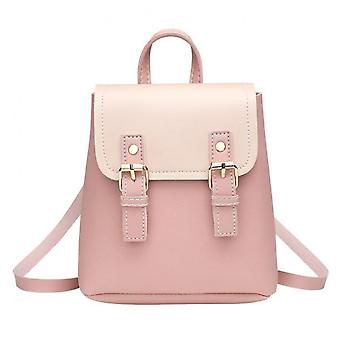 Pu Leather Fashion Splicing Flap Women Shoulder Bags Clasp Multi-function Casual Backpack