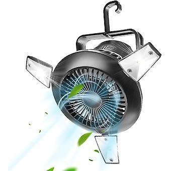 Led Camping Laterne mit Zelt Deckenventilator, wiederaufladbare batteriebetriebene Camping Fan (schwarz)