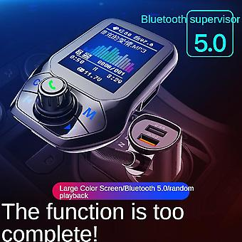 Car Bluetooth Mp3 Player Bluetooth Hands-free Phone Fm Transmitter Qc3.0 Fast Charge Car Mobile Phone Charger