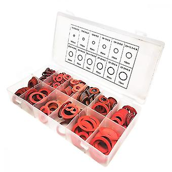 Washers 600pcs 12 sizes of flated steel fiber plated washer kit assorted red insulation washer with box 01