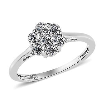 TJC White Diamond I3/G-H Floral Ring 9K White Gold SGL Certified 0.59ct(L)