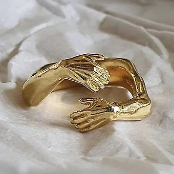 Unisex einstellbare Liebe Umarmung handgeschnitzte Fingerringe (Gold)