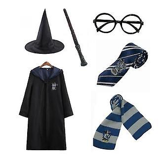 Harry Potter 6pc Set Cosplay Fancy Klänning Cape Cloak Kostym