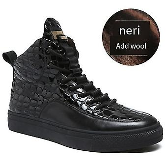 Men's Shoes Winter New High-help Casual Cowhide Shoes Hundred Plus-up Board Shoes
