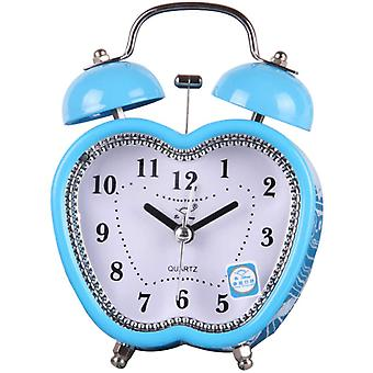 3 Inches Apple Shaped Desk Table Clock ,twin Bell Alarm Clock(blue Apple Shaped)