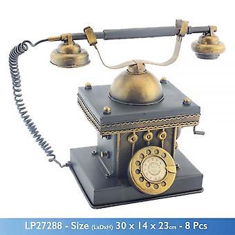 VINTAGE ANTIEKE DRAAIKNOP TELEFOON VORM METALEN SPAARPOT