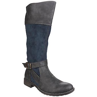 Divaz Womens Garbo Zip Up Boot Navy