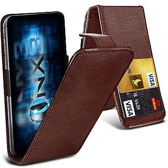 ONX3 (brun) Huawei Y560 / Y5 Premium PU cuir Universal Spring Clamp Flip Case avec caméra glissière et fente porte-carte