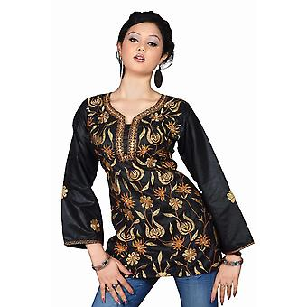 Black long sleeves Kurti/Tunic with contrast jaal embroidery