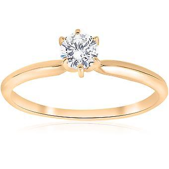 14k Yellow Gold 1/4ct Round Diamond Solitaire Engagement Ring