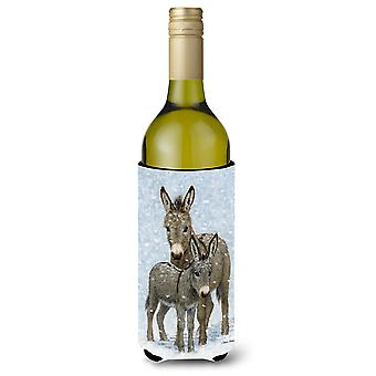 Carolines Treasures  ASA2149LITERK Donkeys Wine Bottle Beverage Insulator Hugger