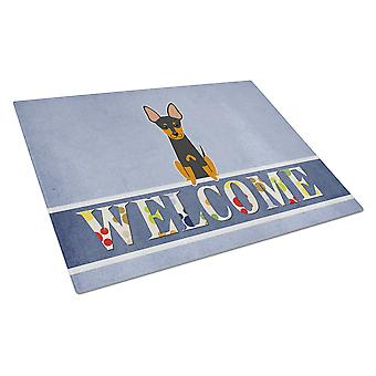 English Toy Terrier Welcome Glass Cutting Board Large