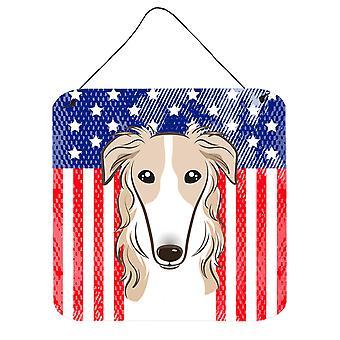 Amerykańską flagę i borzoj ściany lub drzwi wiszące drukuje