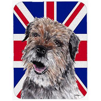 Border Terrier with Engish Union Jack British Flag Glass Cutting Board Large Siz