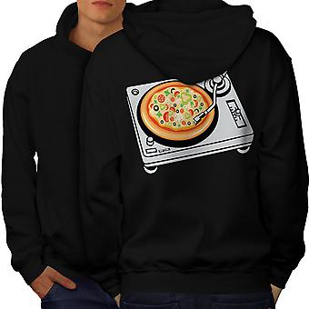 Pizza Mix Dj musica cibo uomini BlackHoodie Back | Wellcoda