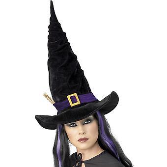 Sorcière chapeau noir avec ruban violet