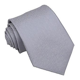 Silver Greek Key Classic Tie