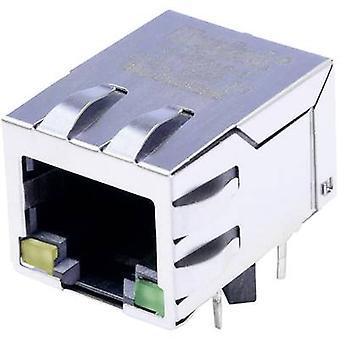 MagJack 10/100Base-TX 4 verici LED'ler sekmesi ile Soket aşağı, yatay montaj 10/100Base-TX Pin sayısı: 8P8C Nikel kaplı, Metal BEL Stewart Konektörler