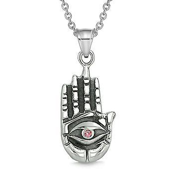 Alle zien gevoel Buddha Eye Hamsa Magic bevoegdheden Amulet roze tegenhanger van het kristal ketting