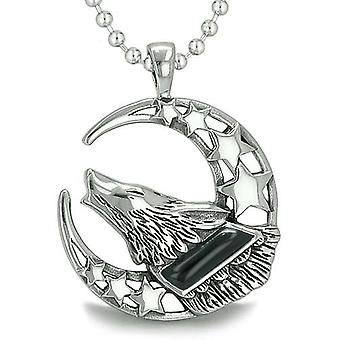 Hylende mod ulv måne og stjerner Amulet Positive jorden energi sort Onyx perle halskæde