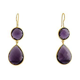 Gemshine - Women '- Earrings - 925 Silver - Gold plated - Amethyst - Purple