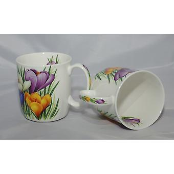English Bone China Pair of Mugs Crocus