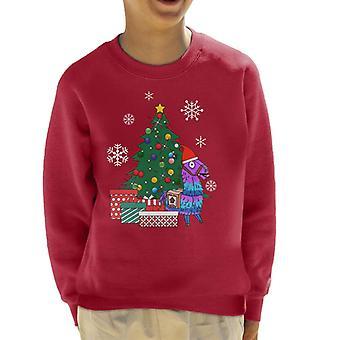 Fortnite Loot Llama Noel Ağacı Kid's Sweatshirt Etrafında