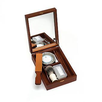Исторический бритья box для прямой rasors с мини бритву, бритвой резкость паста, кисточку для бритья, бритвенные чаши, мыло, квасцы блок непосредственно из Франции