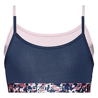 Calvin Klein Girls 2 Pack CK Graphic String Bralette - BluewingTeal/UniquePink