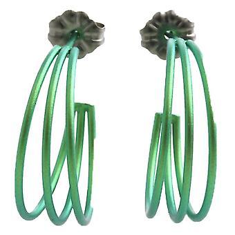 Ti2 Titanium drie Strand hoepel oorbellen - vers groen