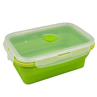 800ML grön silikon hopfällbar mat lagring behållare matlåda TRIXES