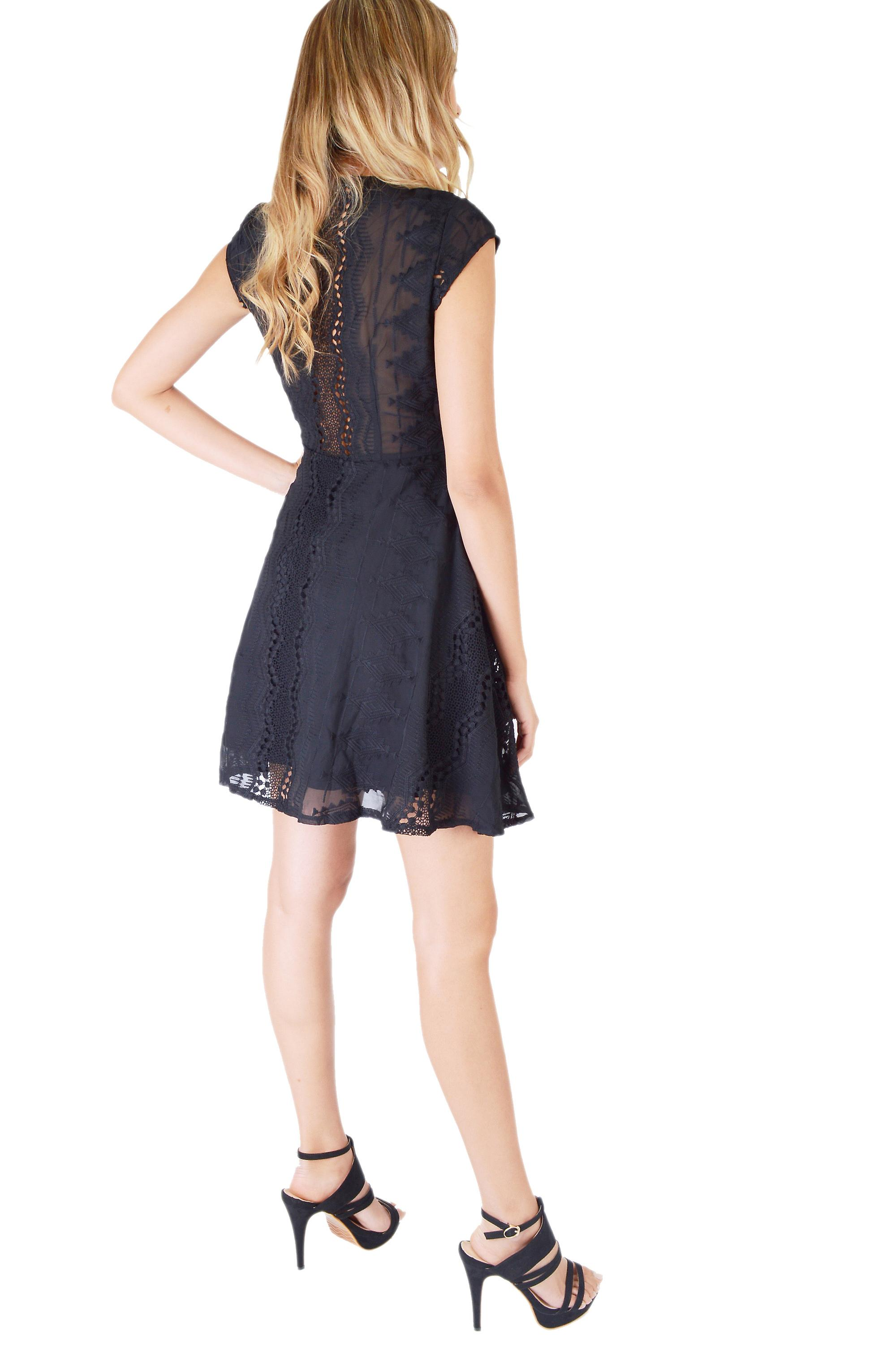 Danity Black Lace Skater Dress With V-Neck And Sheer Lace Back
