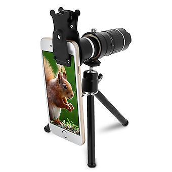 HD4K Telescope lens for Smartphone 14xMagnification fastening clip Tripod-Black