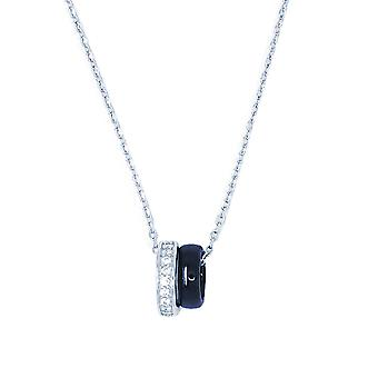 Ah! Jewellery Silver & Blue Ceramic Band Pendants With Crystals From Swarovski Necklace
