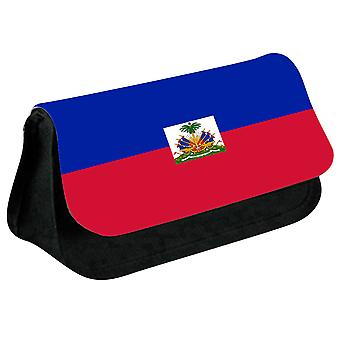 Haiti Flag Printed Design Pencil Case for Stationary/Cosmetic - 0073 (Black) by i-Tronixs