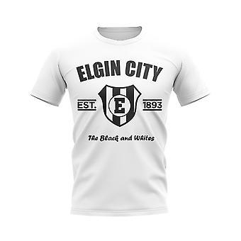 إلجين مدينة أنشأت كرة القدم تي شيرت (أبيض)