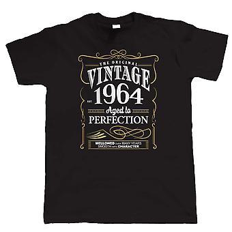 Vintage 1964 vuotiaiden täydellisyyttä, Miesten T-paita syntymä päivä vuosi lahja hänelle isä isät