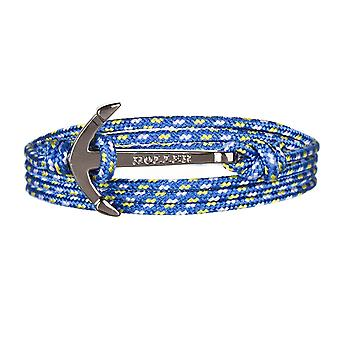 Holler Mosley Black Polished Anchor/Blau, Gelb und Weiß Paracord Armband HLB-01BKP-P17