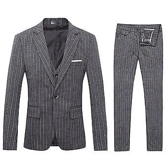 Allthemen menns dresser 3-Pieces dresser stripe bomull slim fit blazer & bukser & vest